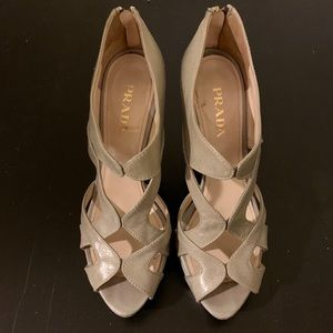 PRADA Peep Toe Platform Heels Light Grey Leather